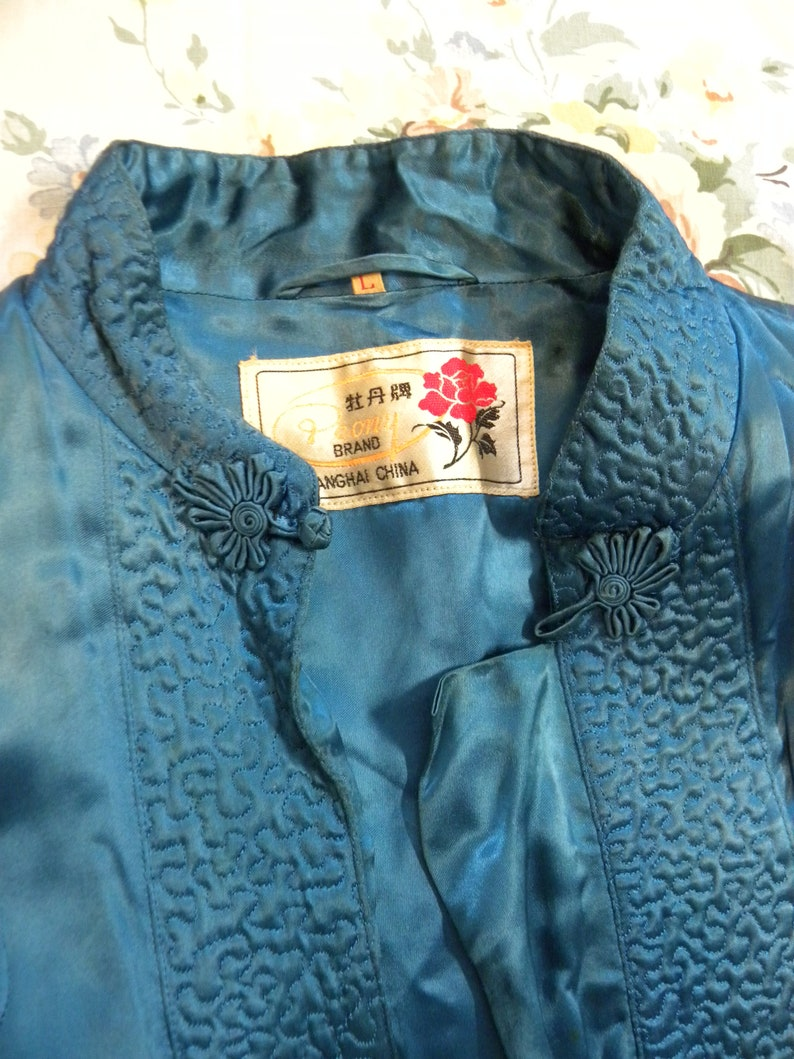Vintage Textile Blue Quilted Coat Nice! Oriental Blue Quilted Evening Cocktail Jacket Coat Peony Shanghai