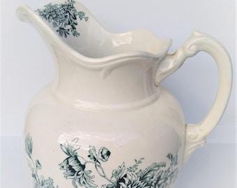 Antique Blue Transferware Buffalo Pottery Ironstone Water Pitcher Chamber Jug Teal Green Transferware Chrysanthemum Flowers