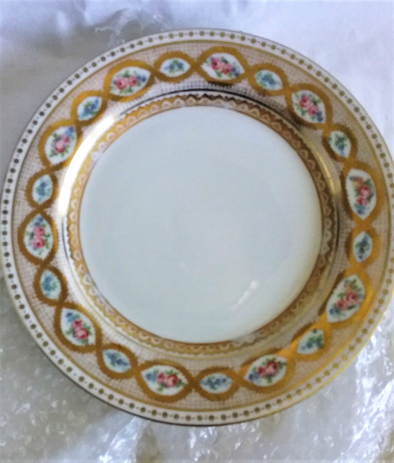 J P L France Porcelain Plates With Gold Gilt Trim Antique Plates Mixed And Match Luncheon Plates French Plates 2x Plates