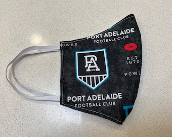 Port Adelaide AFL football Face Mask Australia Fitted Three layer Washable Made in Australia