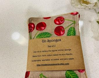 Un-sponge - red juicy cherries kitchen scrub sponge Set of Two - Made in Australia
