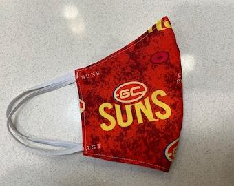 Gold Coast Suns AFL football Face Mask Australia Fitted Three layer Washable  -  Made in Australia