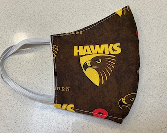 Hawthorn Hawks AFL football Face Mask Australia  Fitted Three layer Washable  - footy Made in Australia