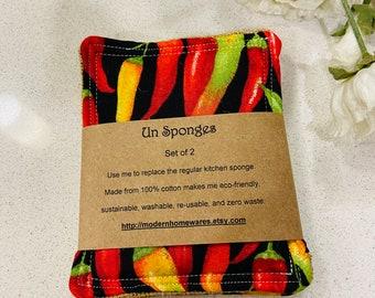 Un-sponge - chillies kitchen scrub sponge Set of Two - Made in Australia