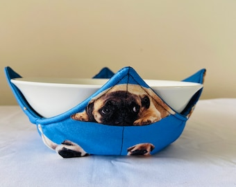 Microwave Bowl holder PUG puppies on blue Made in Australia