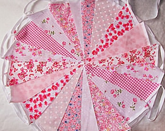 Pink Tulip Red Tartan Fabric Bunting Shabby Chic Single ply 9m 30ft Traditional Christmas Hogmanay Burns Night