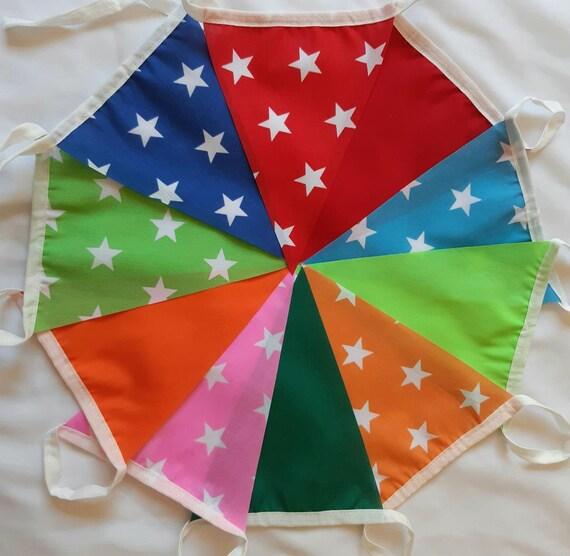 10ft3m Carnival Fabric Bunting Festival Shabby Chic Wedding Garland Banner Handmade Venue Decor Flags Pennants FREE SHIPPING UK