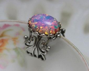 Pink Opal Ring , Vintage Harlequin Glass , Antique Silver Filigree Adjustable Statement Ring