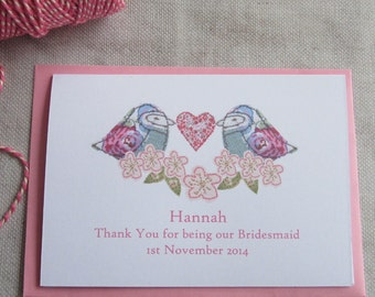 Thank You For Being My Bridesmaid Card- Personalised Thank YounCard- Wedding Thank You
