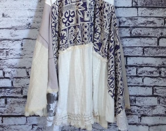 Summer dress, handmade, re-fashioned women's clothing, romantic, boho chic