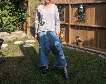 Kreolka drop crotch soft jeans, low crotch denim pants, distressed and frayed capri pants, wide leg with tie cotton string at waist
