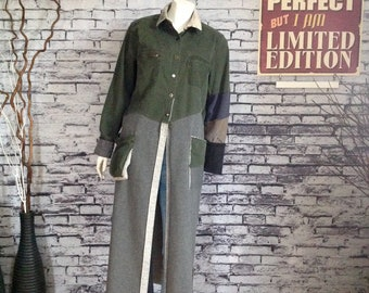 Jacket, coat, re-fashioned women's clothing, with pockets, up-cycled, military style, street style