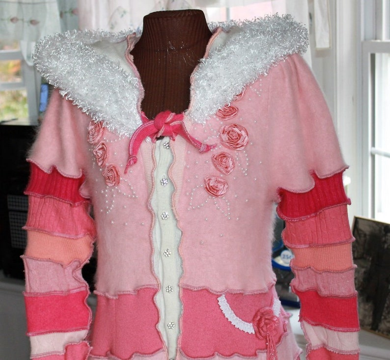 Beautiful Hand Crafted Full Length Pink Sweater Coat Created From Upcycled Repurposed Recycled Cashmere Sweaters