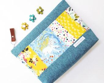 Medium Unicorn Patchwork Zippy Knitting Bag, Project Bag, Crocheting Bag, Gifts for Knitters, Sock Bag, Zipper Pouch