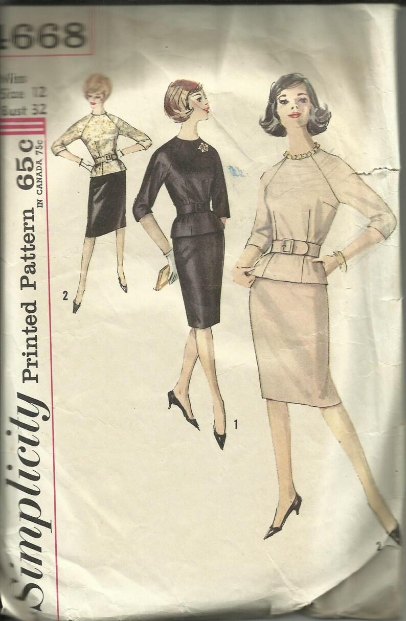 Vintage 1960's Jackie Kennedy Style Simplicity Pattern 4668 VERIFIED  COMPLETE - Raglan Sleeve Darted Blouse and Pencil Skirt - Sz 12 Miss