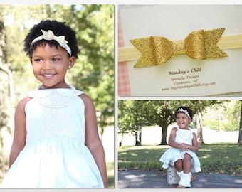 Gold Bow Headband, Gold Baby Bow Headband, Gold Baby Headband, Gold Glitter Bow, Glitter Bow Headband, Baby Bow, Baby Headband, Toddler Bow