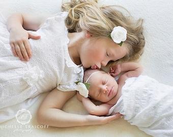 White Baby Headband, White Felt Flower Headband, Baby Headband, Baby Flower Headband, Felt Baby Headband, Newborn Headband, Toddler Headband