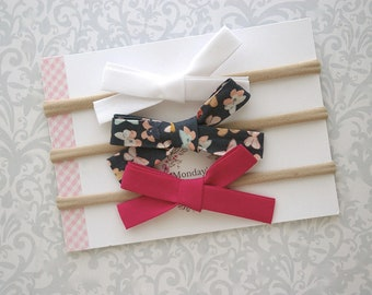 Hand Tied Bows, Baby Bow Headband, Floral Baby Bow, Baby Headband, Toddler Headband, Baby Girl Headband, Toddler Hair Clip, Toddler Hair Bow
