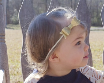 Gold Bow Headband, Gold Baby Bow Headband, Gold Baby Bow, Glitter Bow Headband, Gold Baby Headband, Toddler Headband Baby Headband, Toddler