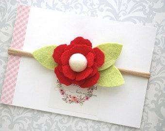 Felt Flower Headband or Felt Flower Hair Clip, Baby Flower Headband, Red Flower Headband, Felt Headband, Baby Headband, Toddler Headband