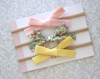 Liberty of London Bow, Liberty of London Baby Bow, Hand Tied Bows, Baby Bow Headband, Floral Baby Bow, Baby Headband, Toddler Headband