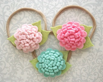 Felt Flower Headband, Baby Flower Headband, Baby Headband, Aqua Baby Headband, Felt Headband, Newborn Headband, Toddler Headband, Baby Girl