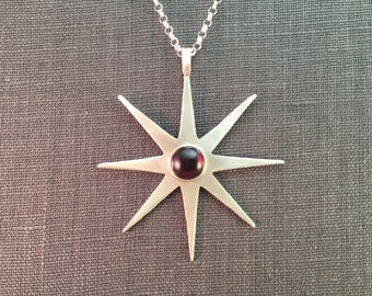 Garnet Cabochon Large Sterling Star Mid Century Modern Metalwork Necklace Pendant