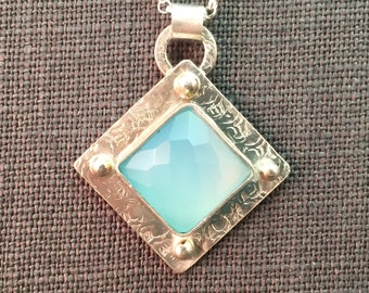 Blue Chalcedony Faceted Cabochon Sterling Silver Industrial Metalwork Necklace Pendant