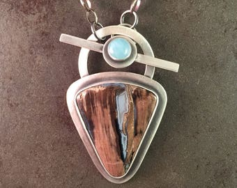 Blue Forest Jasper and Aquamarine Cabochon Sterling Silver Toggle Necklace Pendant