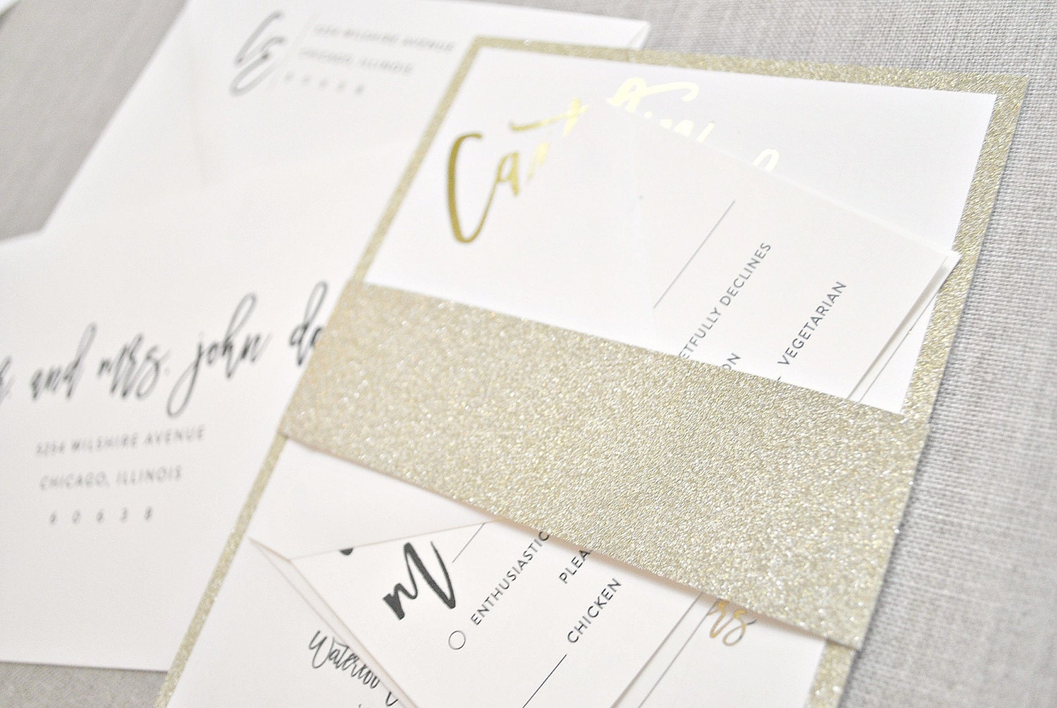 Cost Of Calligraphy For Wedding Invitations: Kendall Calligraphy Wedding Invitation Suite With GOLD