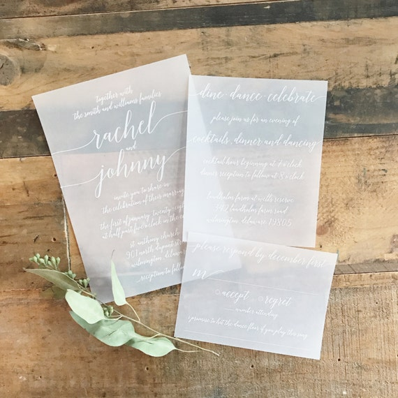 Katie Vellum Wedding Invitation Suite White Ink Printed On Etsy