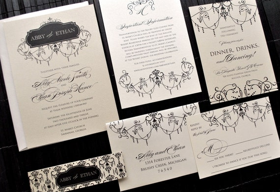 Chandelier Wedding Invitations: Items Similar To Waldorf Chandelier Wedding Invitation