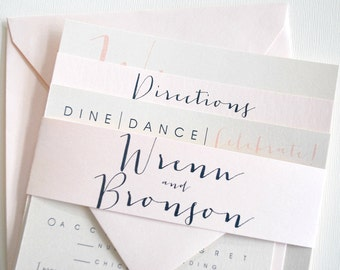 Square Bronson Wedding Invitation Suite with Belly Band - Ivory, Blush Pink, Navy Blue (colors/text customizable)