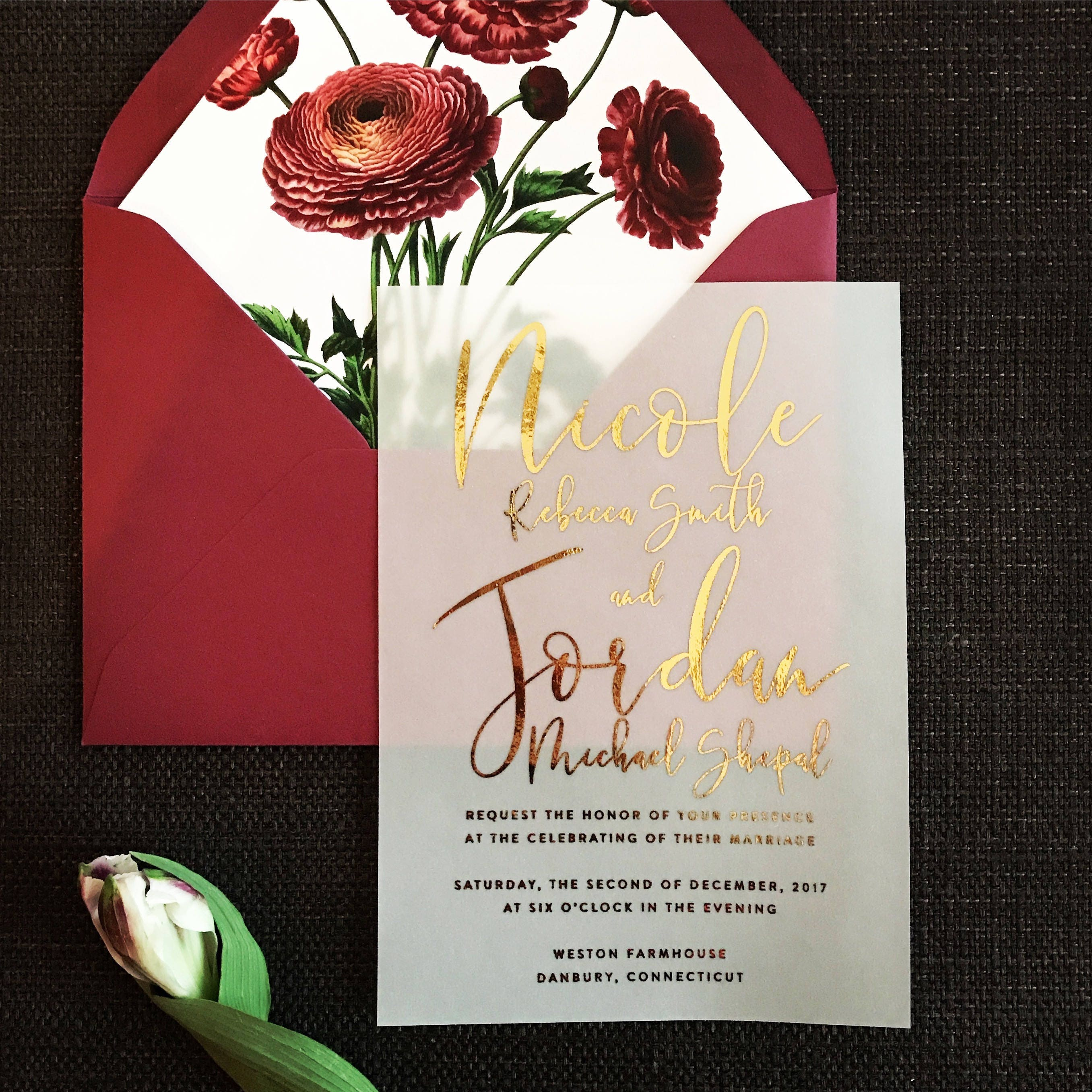 Nicole Invitation Suite // Translucent Vellum with Gold Foil | Etsy