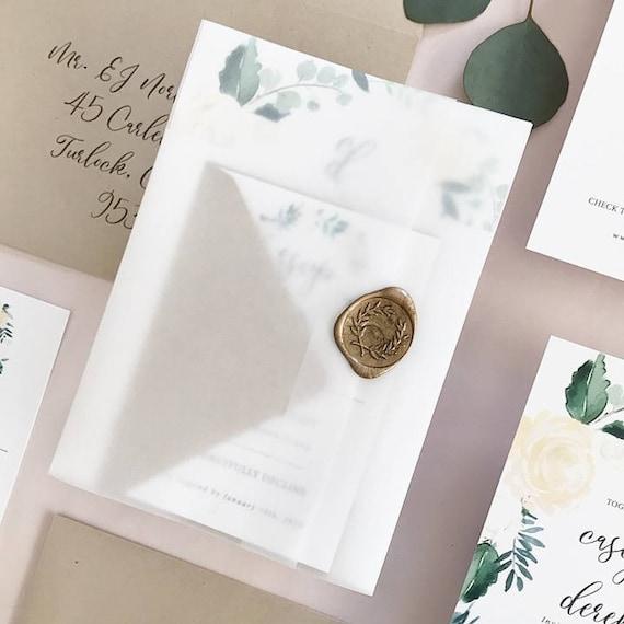 translucent vellum trifold invitation suite wrap printed or etsy