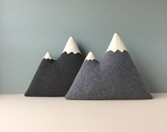the Peaks - original wool mountain pillow - MADE TO ORDER