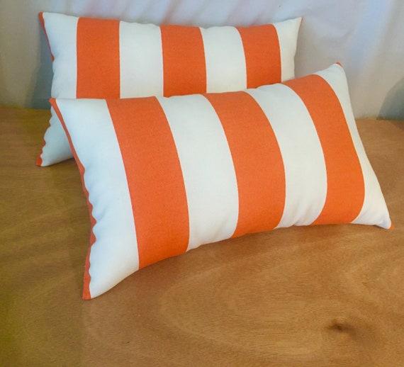 40 Decorative Orange Stripe IndoorOutdoor Lumbar Pillows Etsy Simple Decorative Outdoor Lumbar Pillows