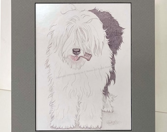 """Old English Sheepdog Matted Small Poster-""""Bone Appetit"""""""