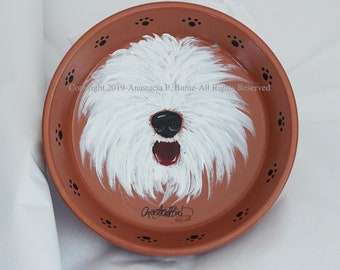 Hand Painted Jewelry/Trinket Dish-Old English Sheepdog-One-of-a-Kind