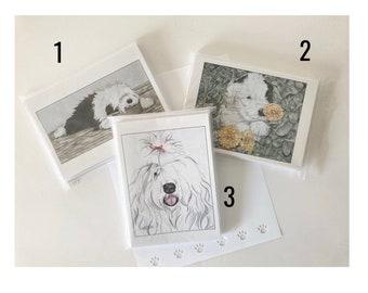 Single Image 10 Pack Note Cards-Old English Sheepdog