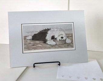 "Old English Sheepdog Matted Fine Art Print-""It's A Wonderful Life"""