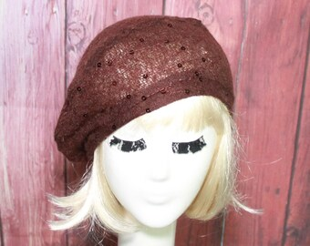 Beret Hat Slouchy Brown Sweater Knit