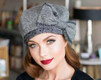 860b37487e238 Beret Hat Bow Grey   Black Chevron Striped Wool Beret French
