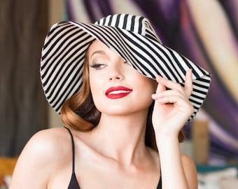 Sun Hat Black & White Striped Wide Brim