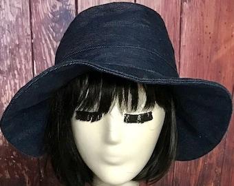 cd6c42c5d539fe Denim Sun Hat, Bucket Hat, Sun Hat, floppy hat, wide brim hat, summer hat,  Navy Wide Brim Sun Hat, Beach Hat, Packable Hat