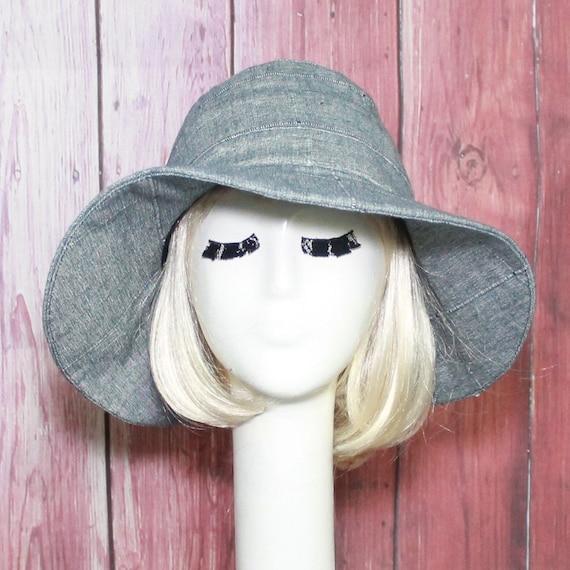 f5976da76d0f7c Linen Sun Hat Patchwork Wide Brim Hat Floppy Hat Chambray   Etsy