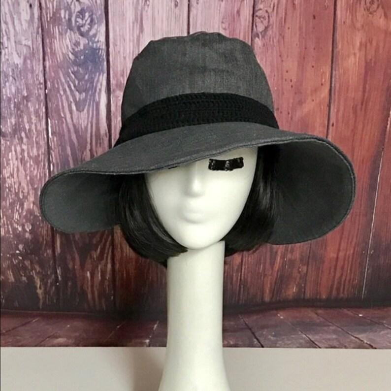 74fc33c55a082 Sun Hat Grey Denim Wide Brim Hat Floppy Hat Bohemian Hat