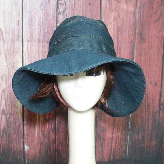 Sun Hat Wide Brim Hat Denim Hat Floppy Hat Summer Hat  28af28b85c8