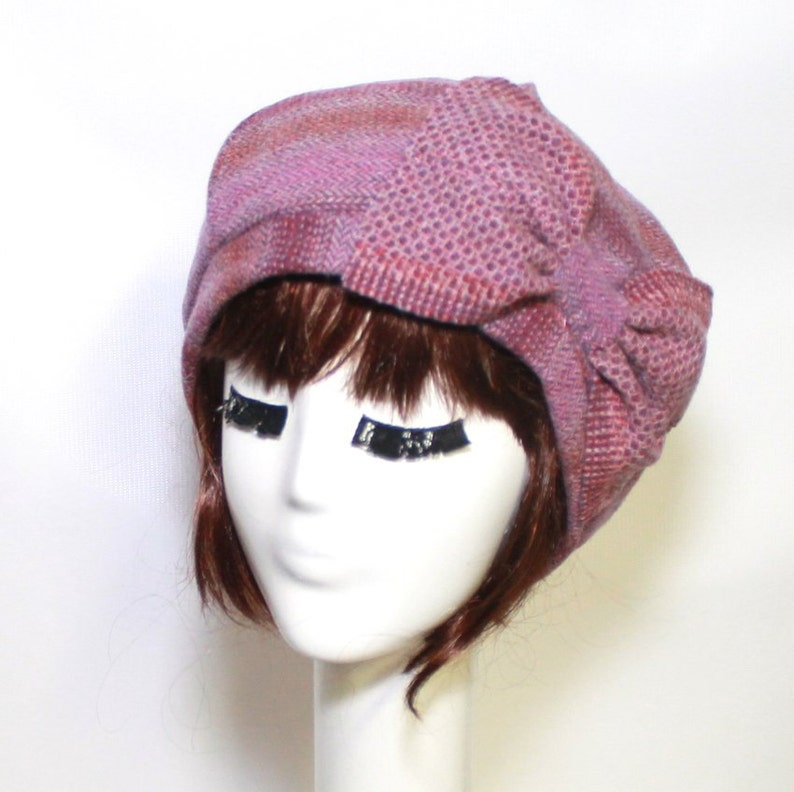 509d9f50a6d0e Pink Beret Hat Bow Striped Wool Beret Hat Bow Wool Beret Hat