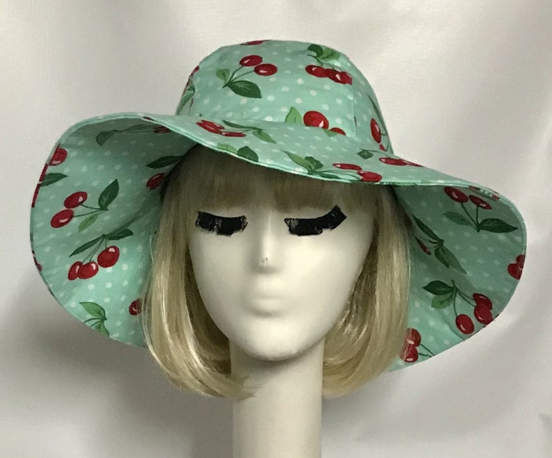 18c0ab25c Sun Hat Polka Dots & Cherry Print, Wide Brim Hat, Floppy Hat, Pin Up girl ,  Travel Hat, Packable Hat, Black and White Sun Hat
